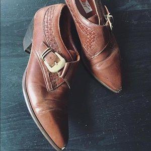 Vintage 80s Leather Cut Off Cowboy Ankle Boots